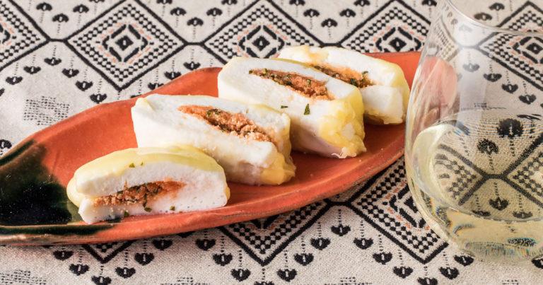メインビジュアル:《おつまみレシピ》レンチンで楽ちん!⑤はんぺんチーズのシソ明太サンド